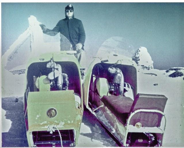 Snowmobiles on top of Mt Katahdin