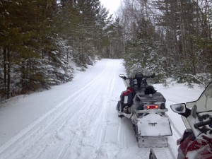 Fresh snow on the Jo Mary Riders trail after the storm wound down Saturday, February 9, 2013