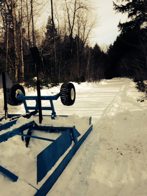 New 109 snowmobile trail after being cleared and freshly groomed
