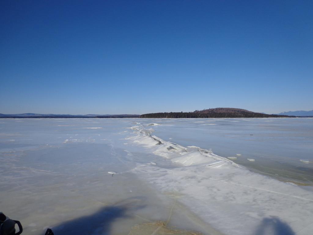 Pressure ridge at South Twin Lake on January 26, 2015