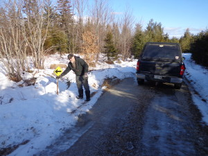 posting trail signs on the 109 - January 15, 2016